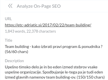 onsite seo optimizacija primer team building